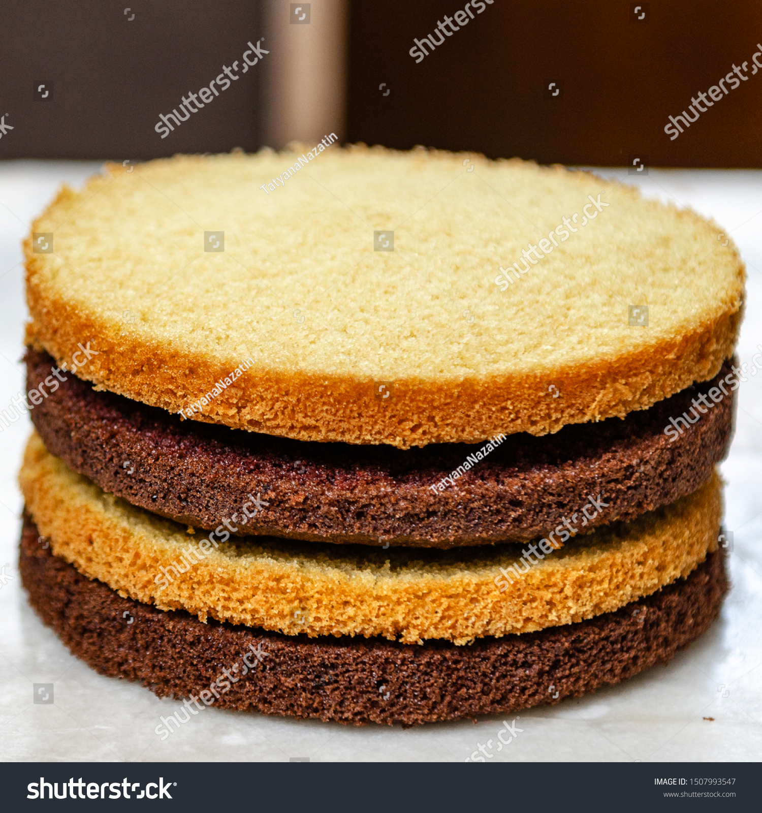 Tremendous Chocolate Vanilla Sponge Cake Birthday Cake Stock Photo Edit Now Personalised Birthday Cards Arneslily Jamesorg