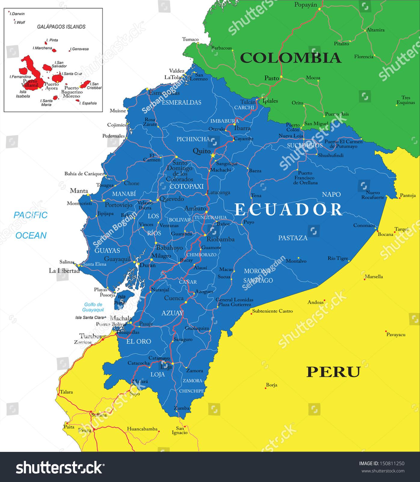 Ecuador Map Stock Vector Shutterstock - Ecuador map