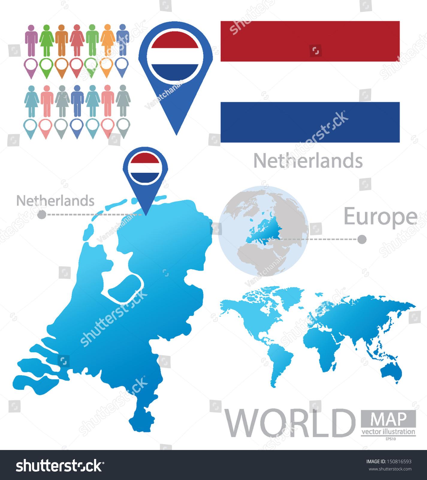 Picture of: Vector De Stock Libre De Regalias Sobre Netherlands Holland Flag World Map Vector150816593