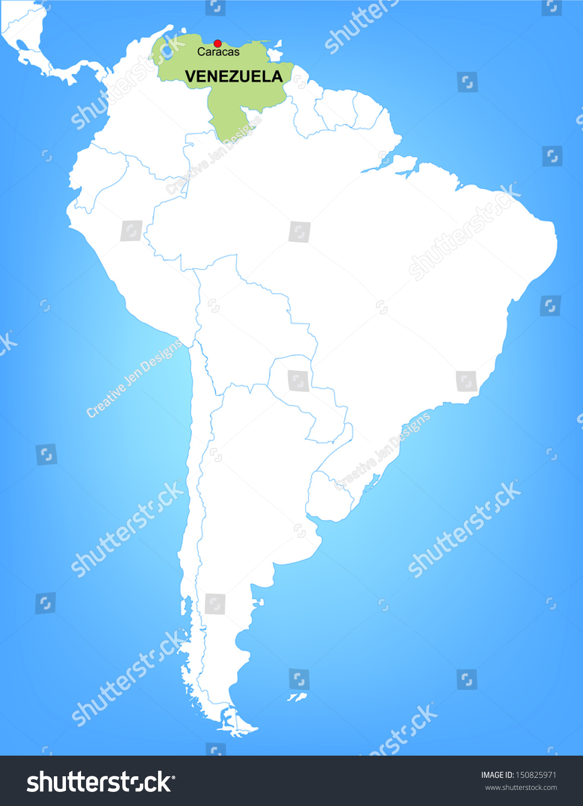 Vector Map South America Highlighting Country Stock Vector - Map of venezuela south america