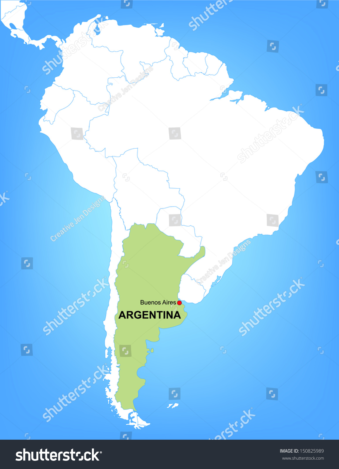 Vector Map South America Highlighting Country Stock Vector - South america argentina map