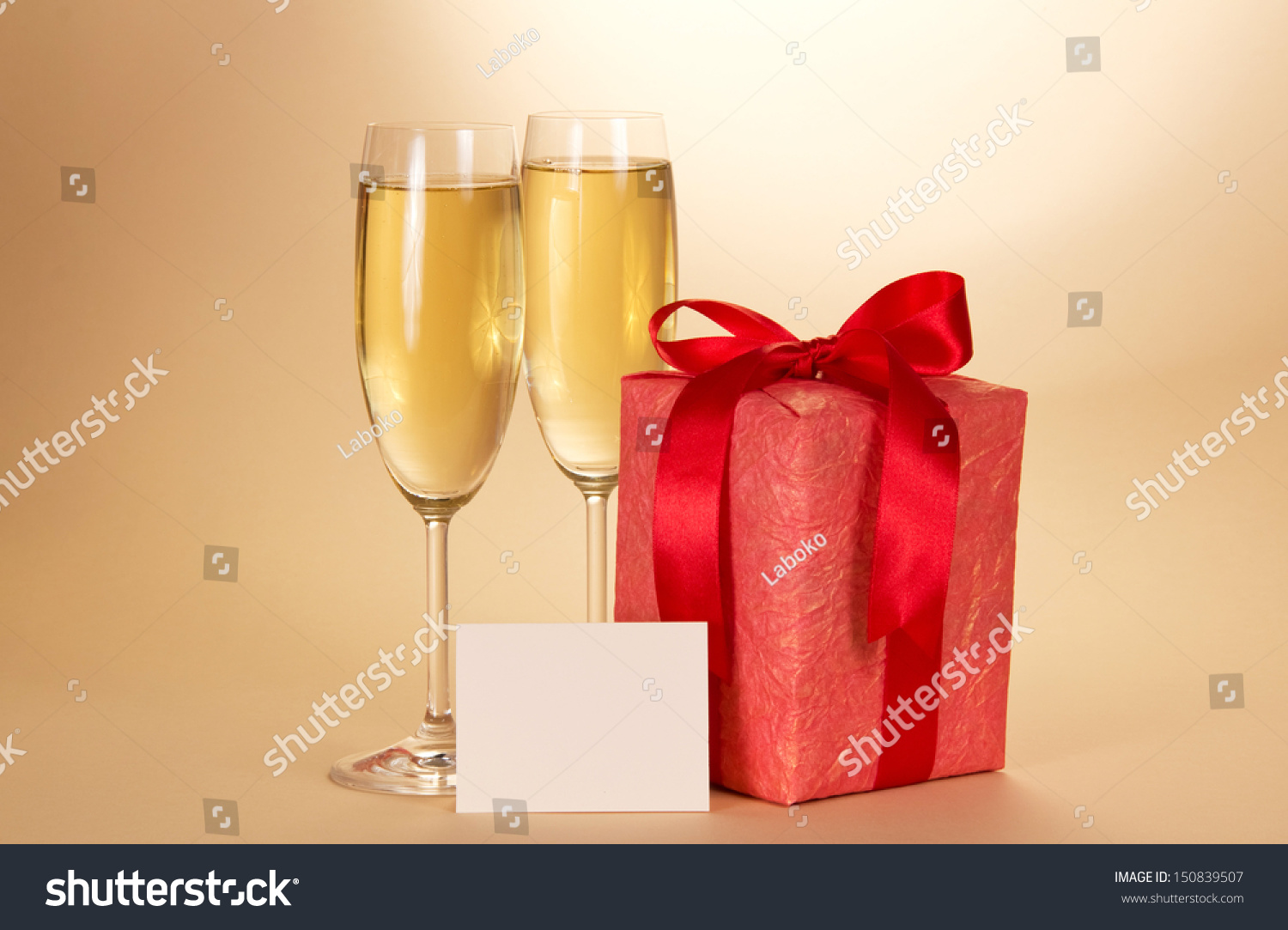 Two Wine Glasses Champagne Gift Box Stock Photo Edit Now 150839507