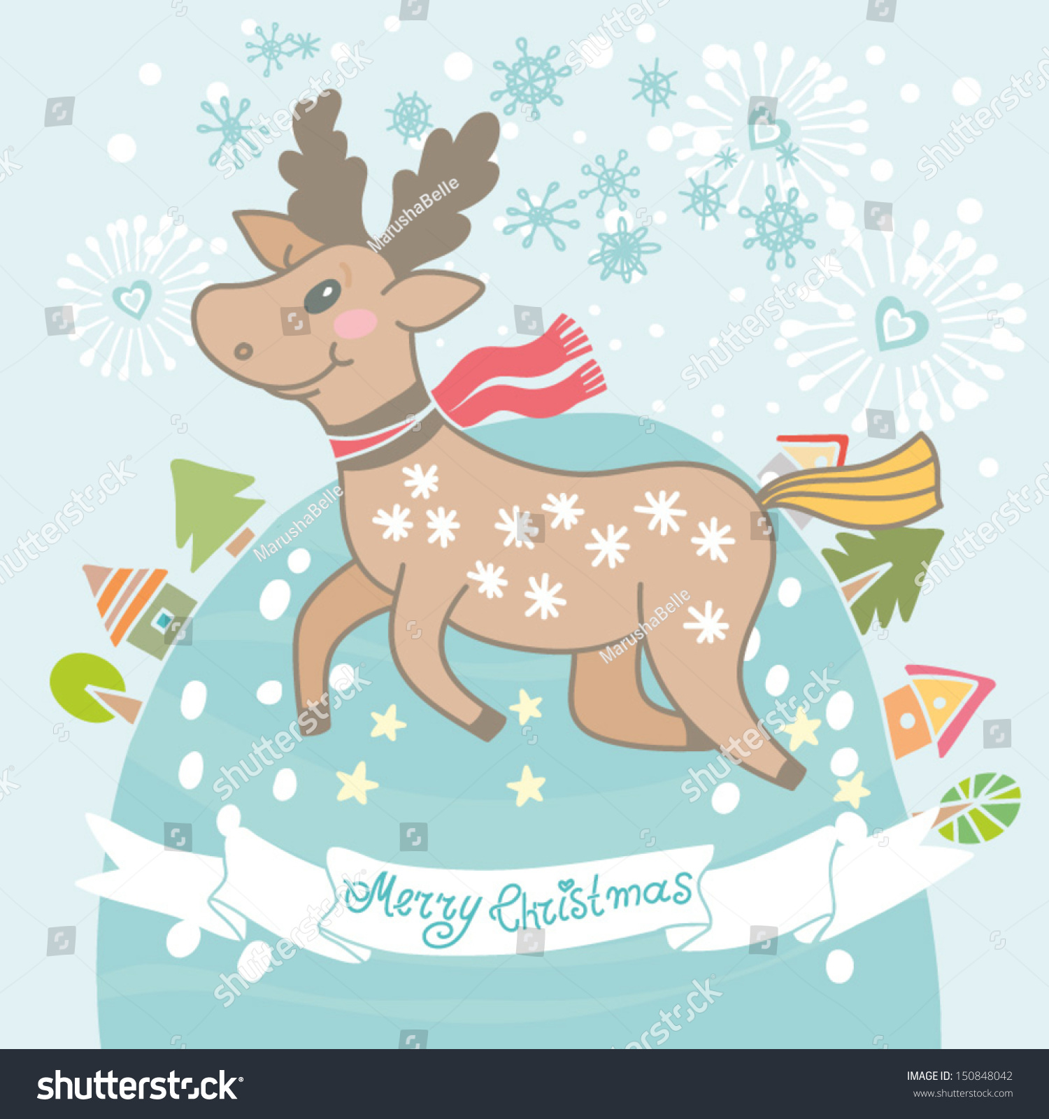 Vector Christmas Background Funny Deer Small Stock Vector Royalty