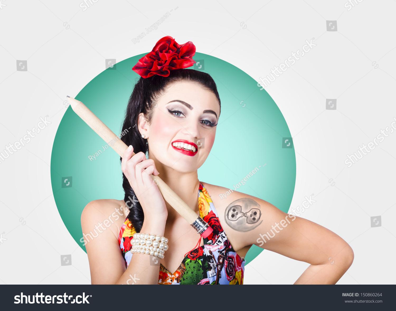 Portrait Beautiful Rockabilly Girl Stylish Hair Stock Photo Edit