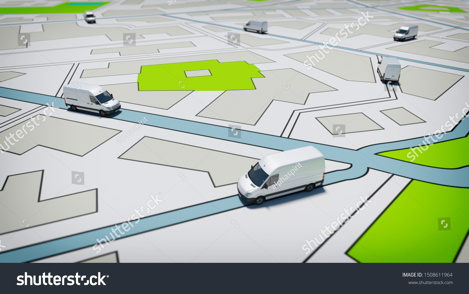 Trucks on a road city map. Concept of global shipment and GPS tracking #1508611964
