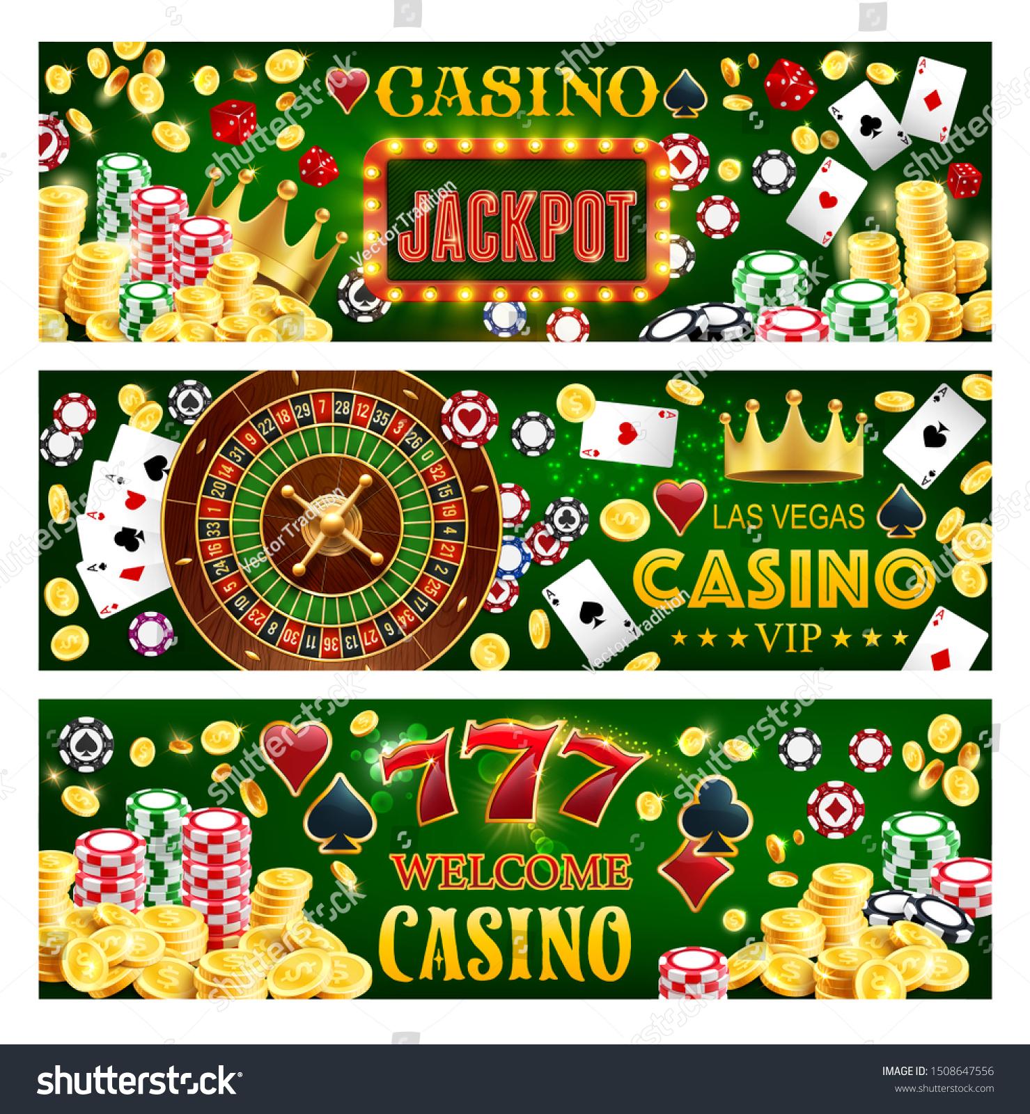 Casino Poker Gambling Roulette Jackpot Big Stock Vector Royalty Free 1508647556