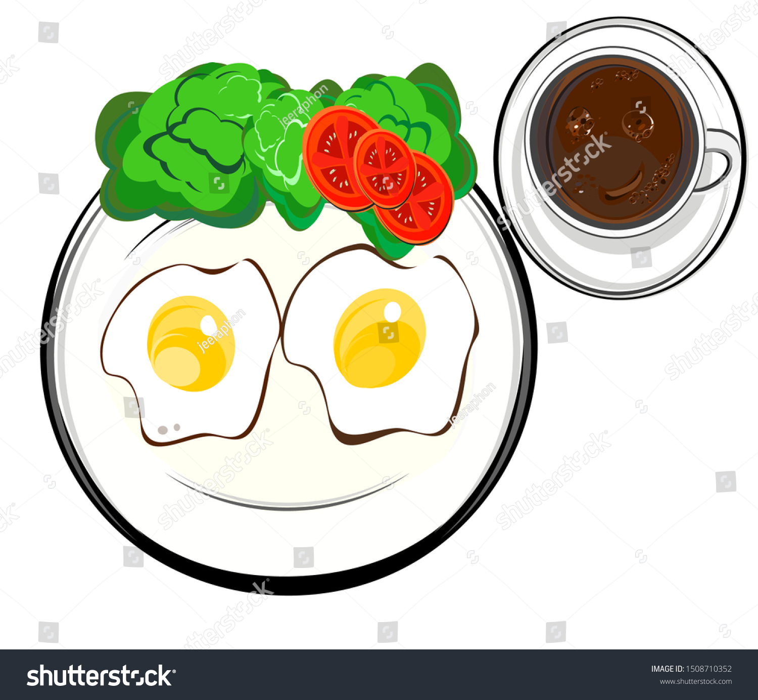 Breakfast Plate Fried Eggs Glass Hot Stock Vector Royalty Free 1508710352
