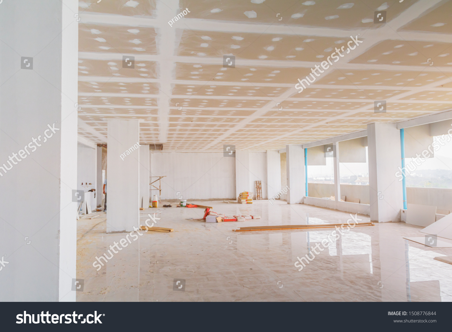 Gypsum Board Ceiling Structure Plaster Mortar Stock Photo