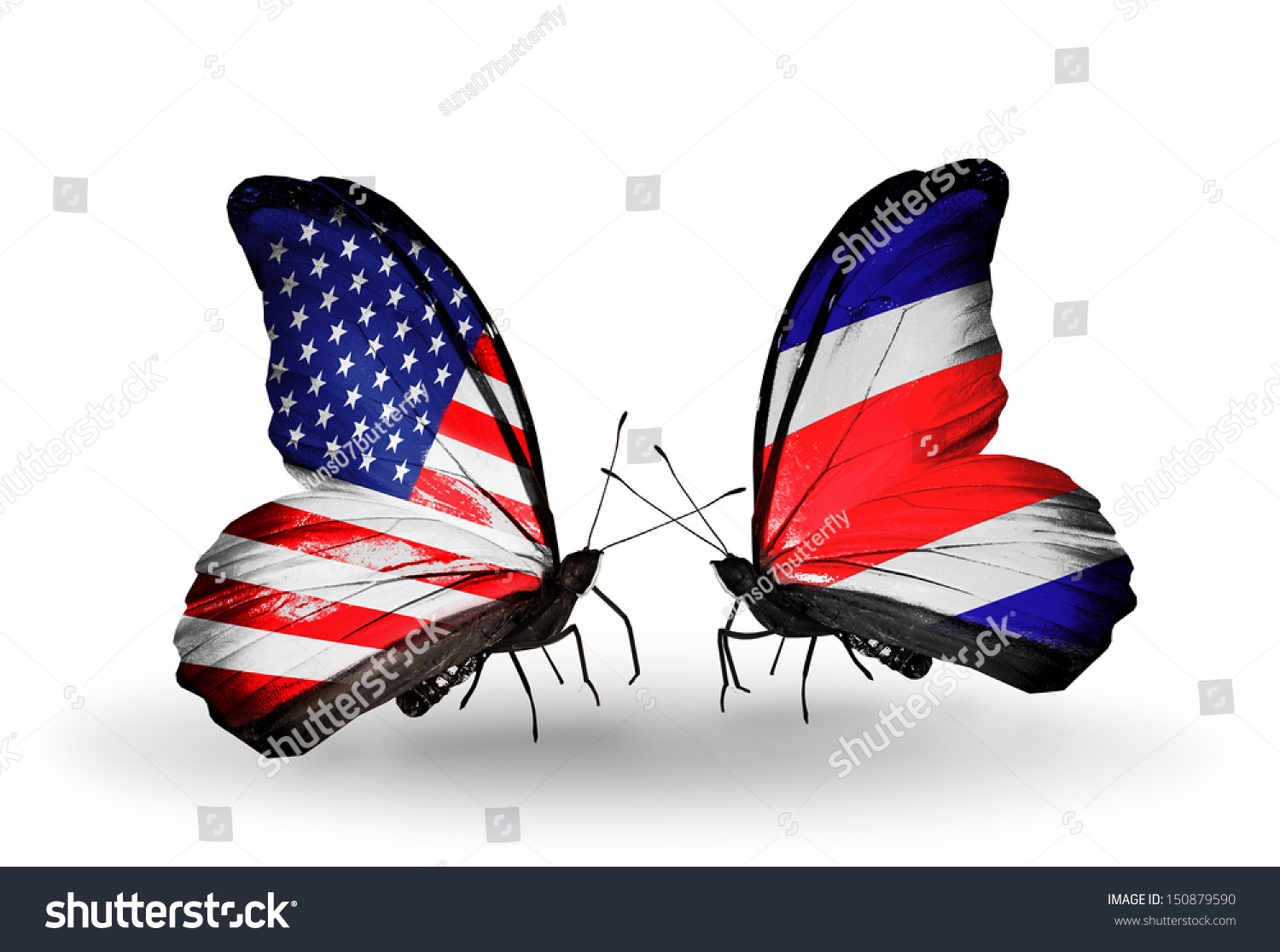 Two butterflies flags on wings symbol stock illustration 150879590 two butterflies with flags on wings as symbol of relations usa and costa rica biocorpaavc Gallery