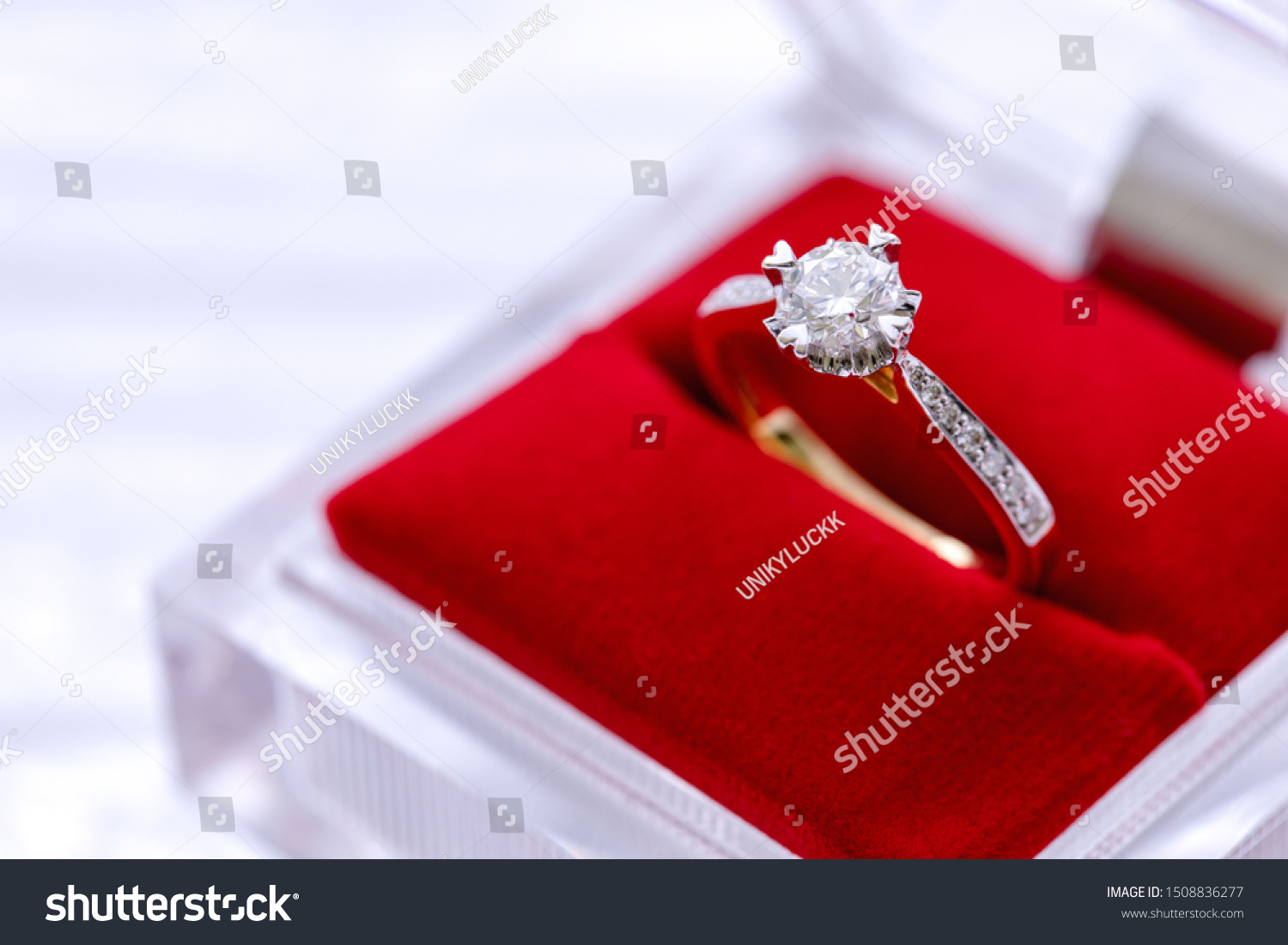Luxury Golden Wedding Ring Diamonds Red Stock Photo Edit Now