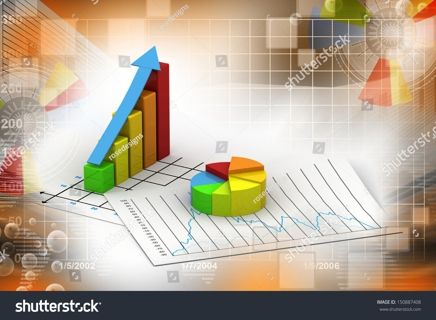 Business graph pie chart stock illustration 150887408 shutterstock business graph and pie chart nvjuhfo Image collections