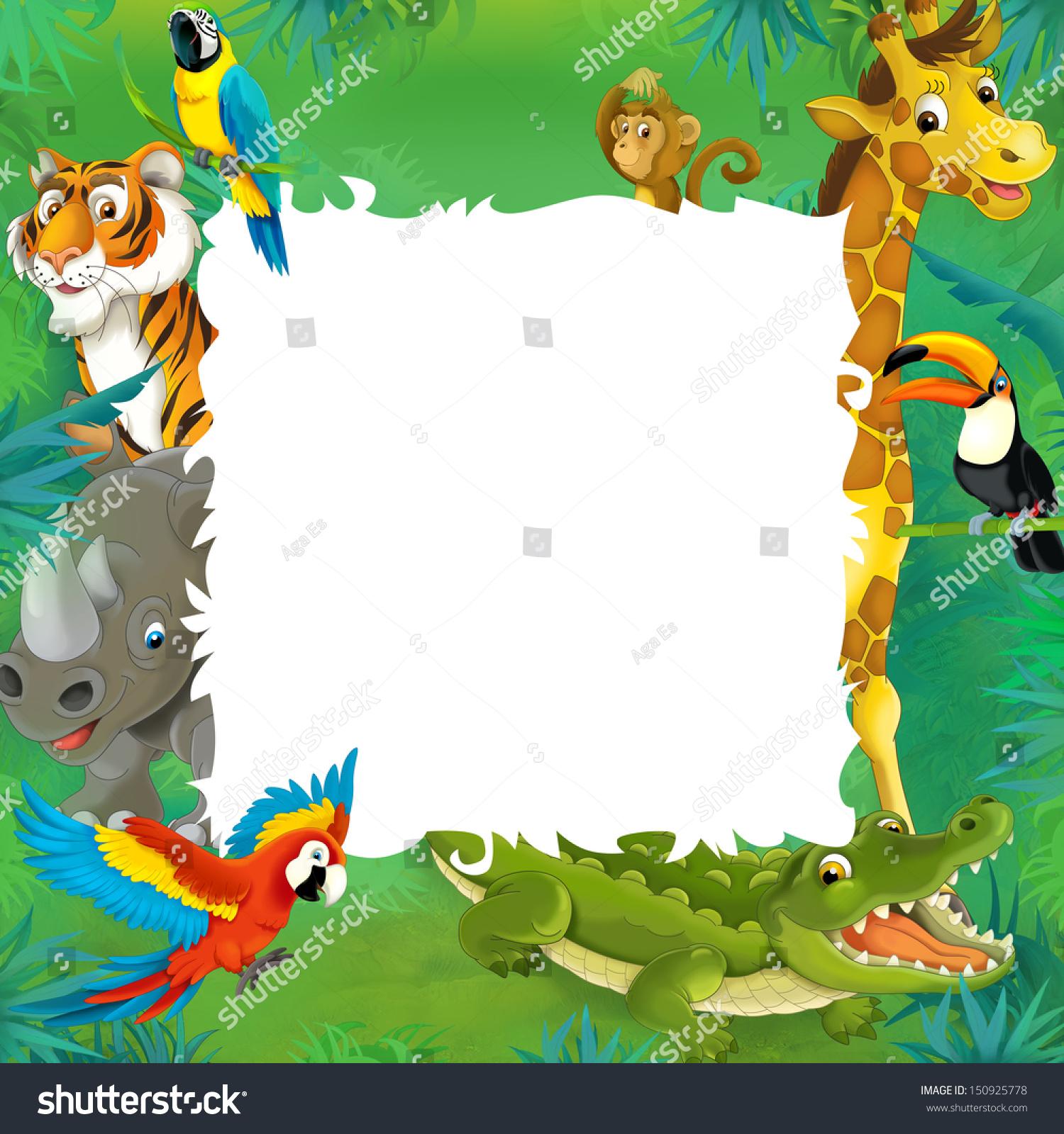 cartoon safari jungle frame border template