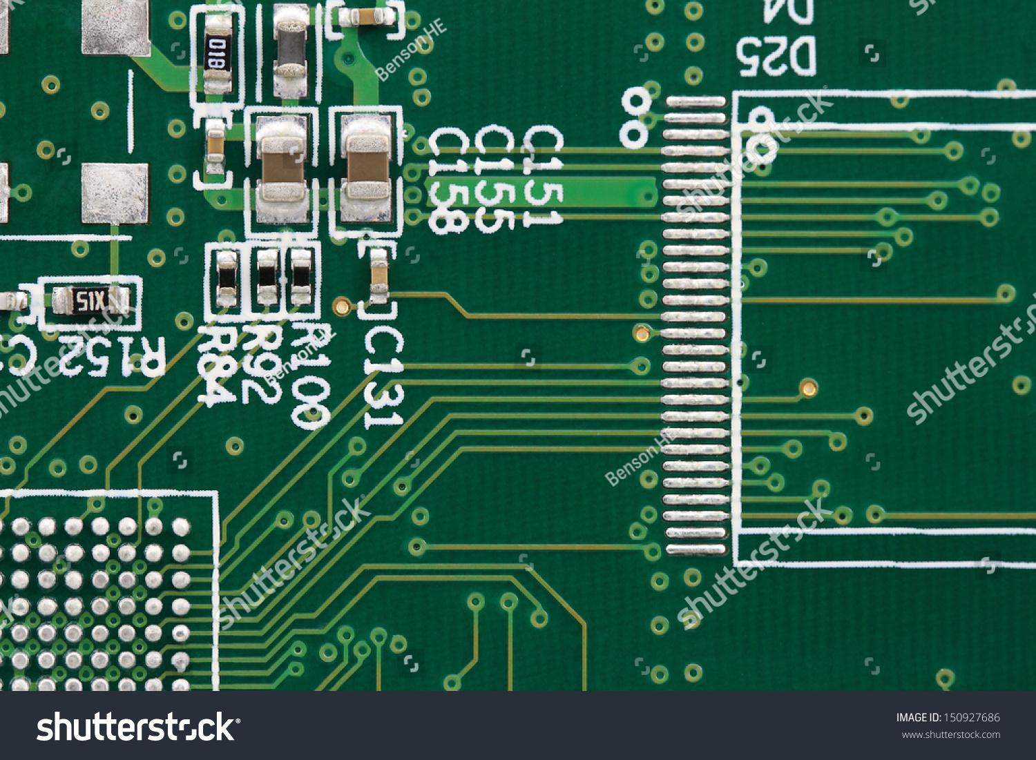 Wiring On Printed Board Chip Stock Photo Edit Now 150927686 Resistors A With And Capacitors Mounted