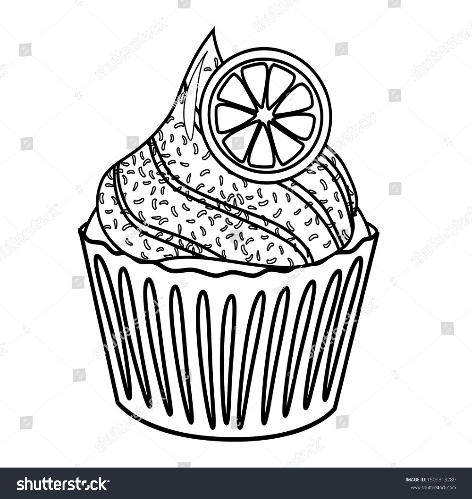 - Cupcake Coloring Book Vector Illustration Simple Stock Vector