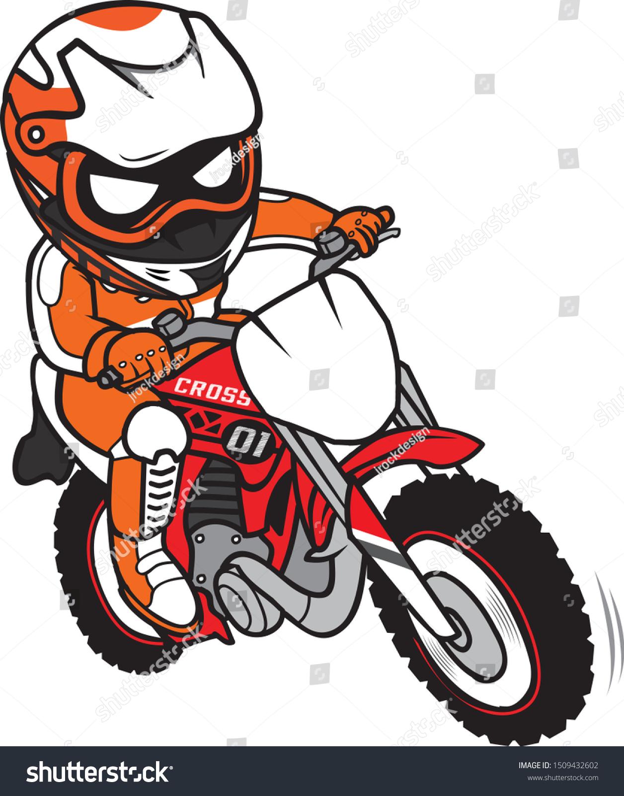 Vetor Stock De Motocross Rider Ride Motorcycle Cartoon Style Livre De Direitos 1509432602