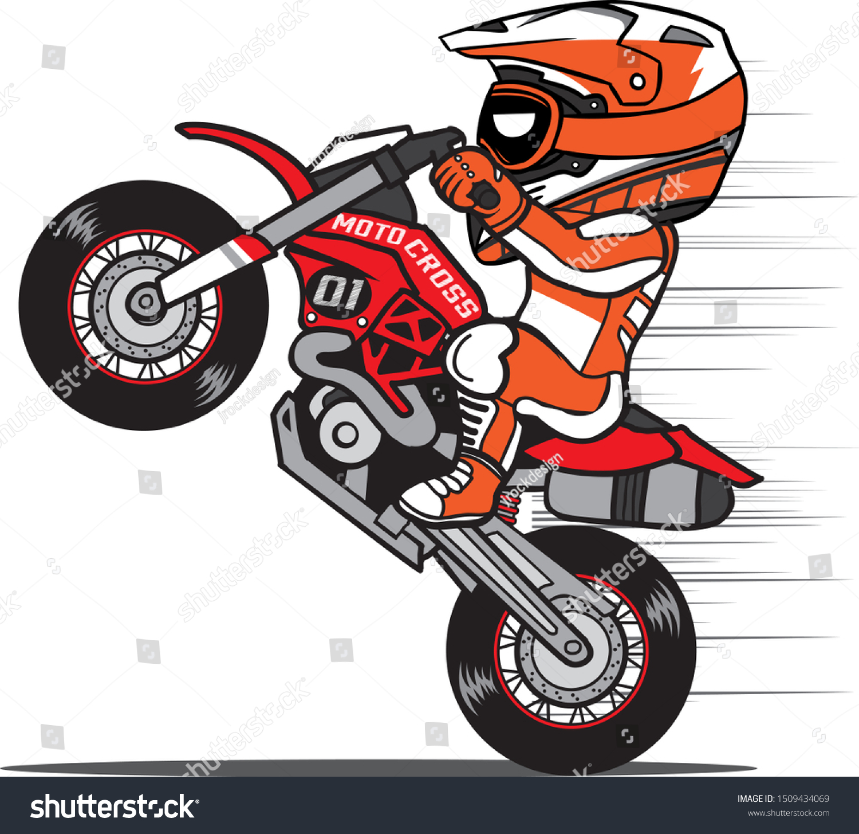 Motocross Rider Wheelie Dirt Bike Cartoon Stock Vector Royalty Free 1509434069