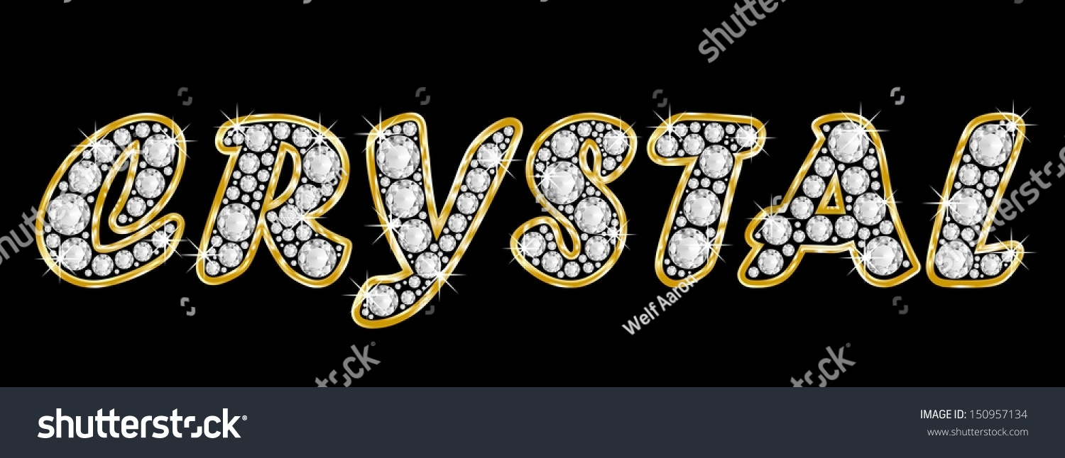 the girl female name crystal made of a shiny diamonds style font brilliant gem