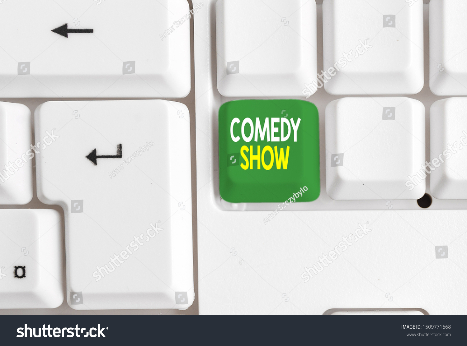 Conceptual hand writing showing Comedy Show. Business photo text Funny program Humorous Amusing medium of Entertainment White pc keyboard with note paper above the white background. #1509771668