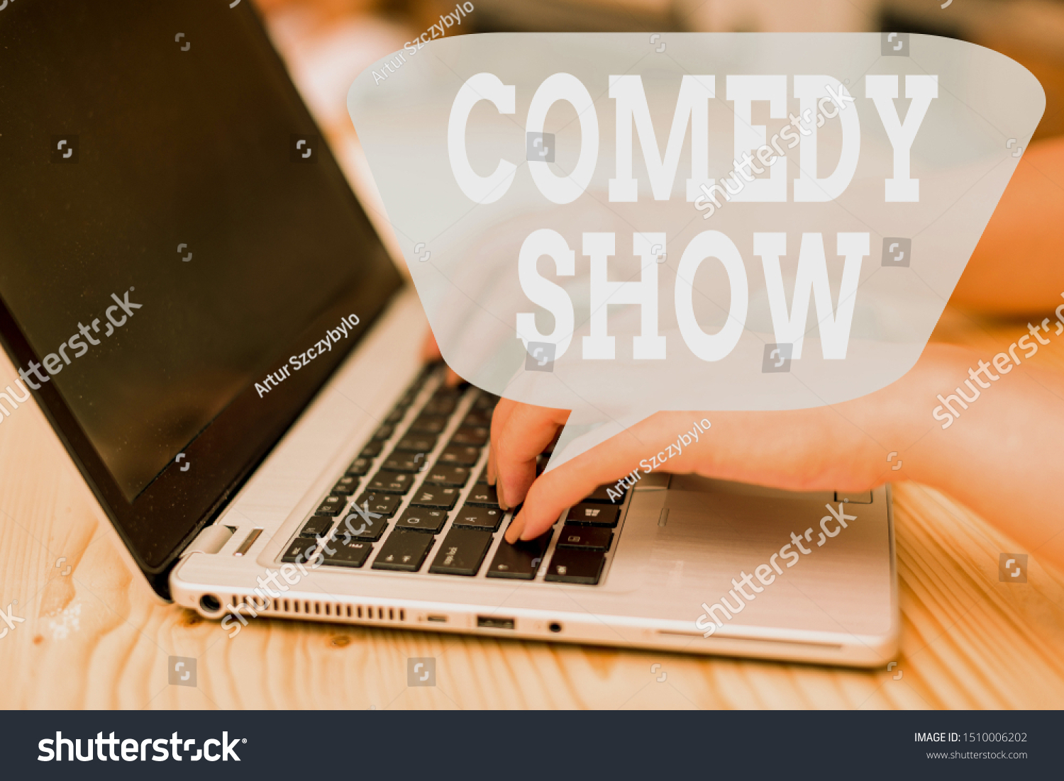 Conceptual hand writing showing Comedy Show. Business photo showcasing Funny program Humorous Amusing medium of Entertainment woman with laptop smartphone and office supplies technology. #1510006202
