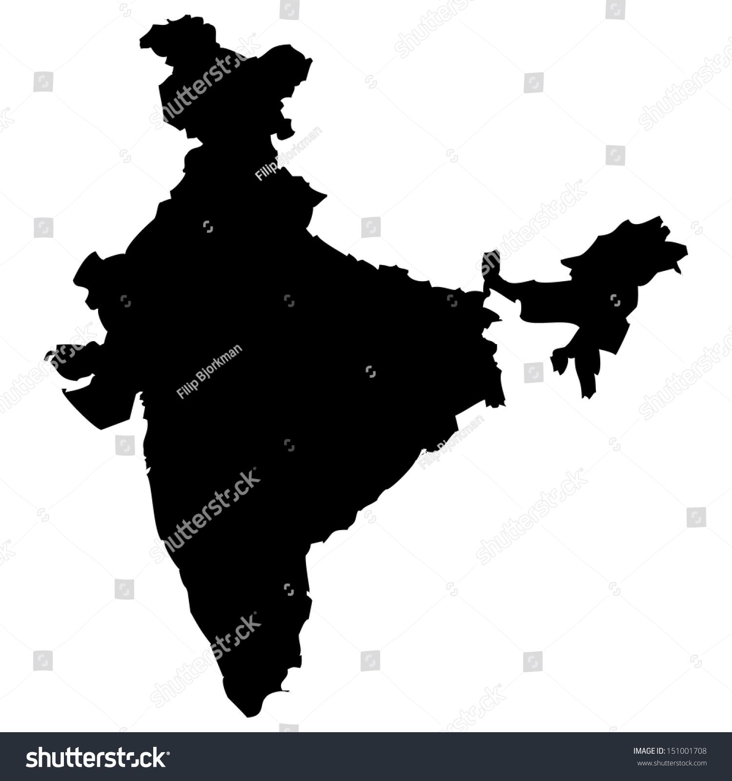 High Detailed Vector Map India Stock Vector Shutterstock - India map vector