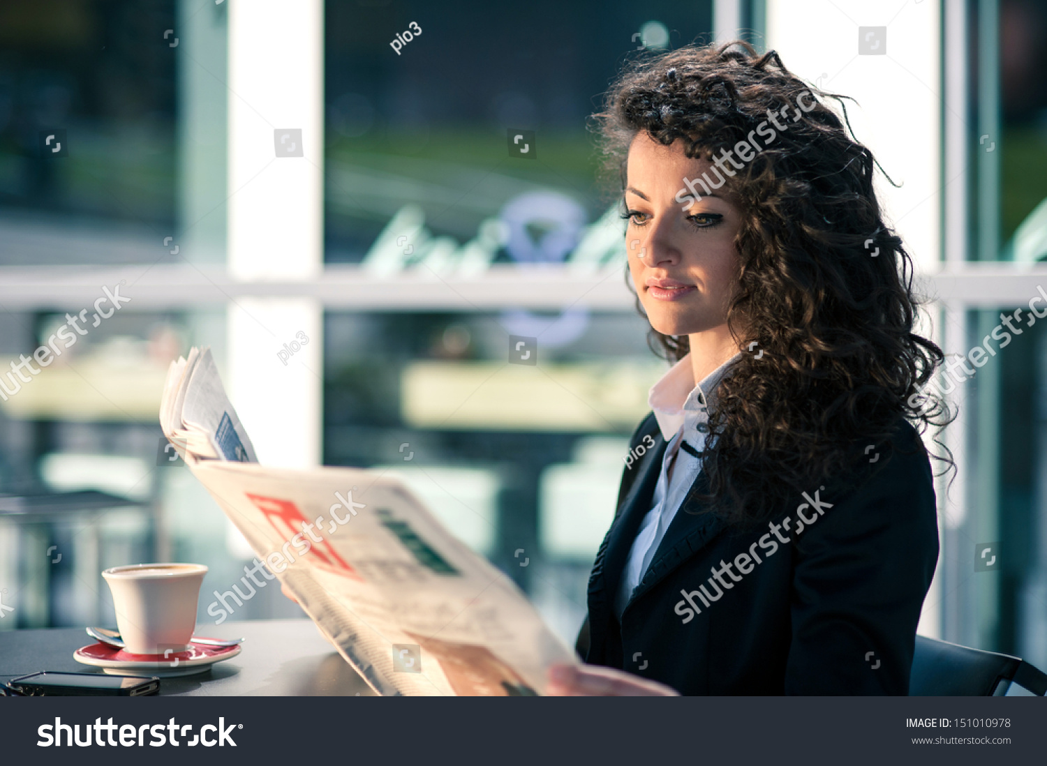 business woman reading newspaper outdoors sit stock photo (edit now