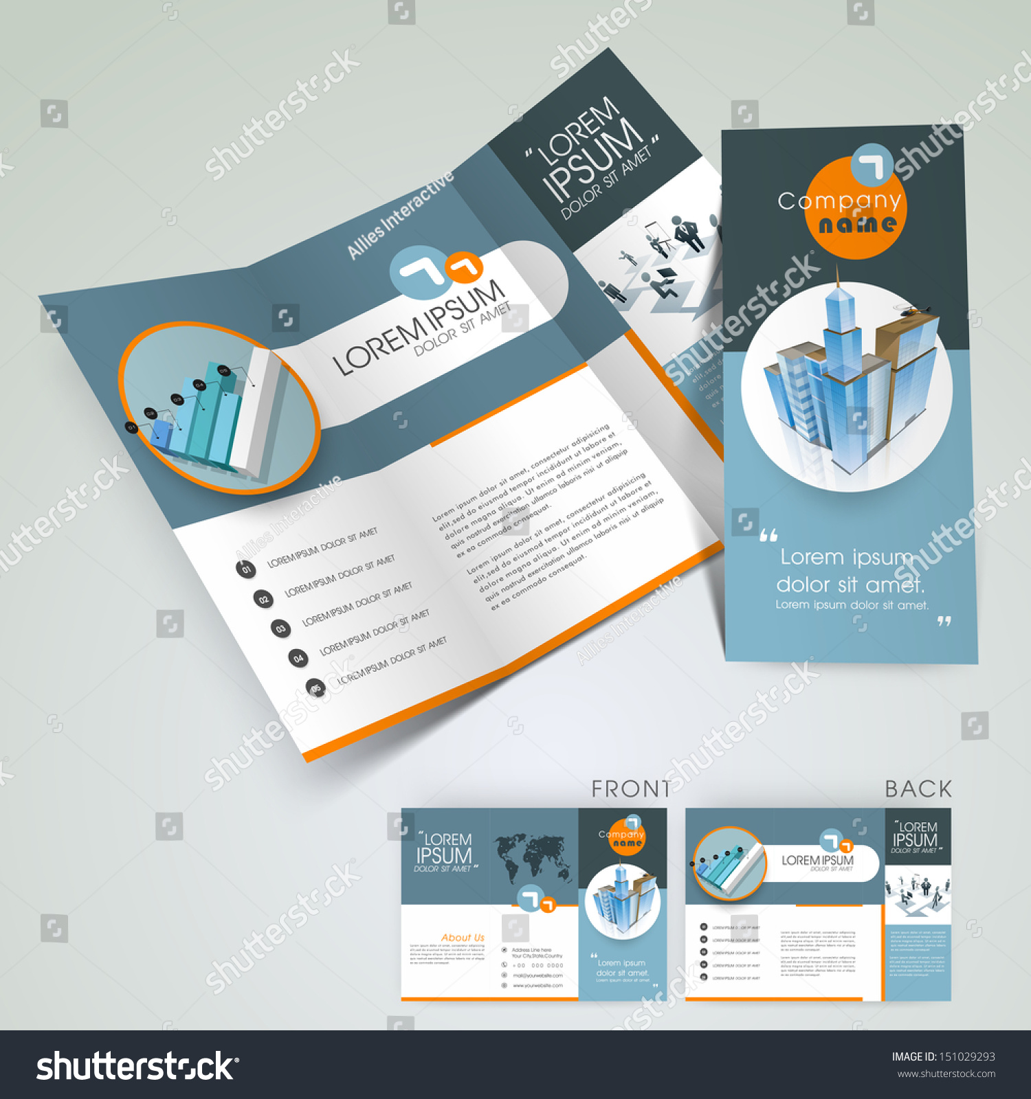 Professional business three fold flyer template corporate for 3 fold brochure design templates