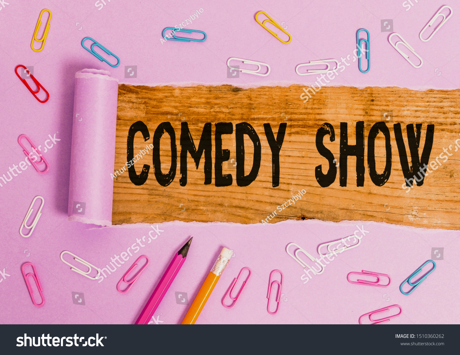 Writing note showing Comedy Show. Business photo showcasing Funny program Humorous Amusing medium of Entertainment. #1510360262