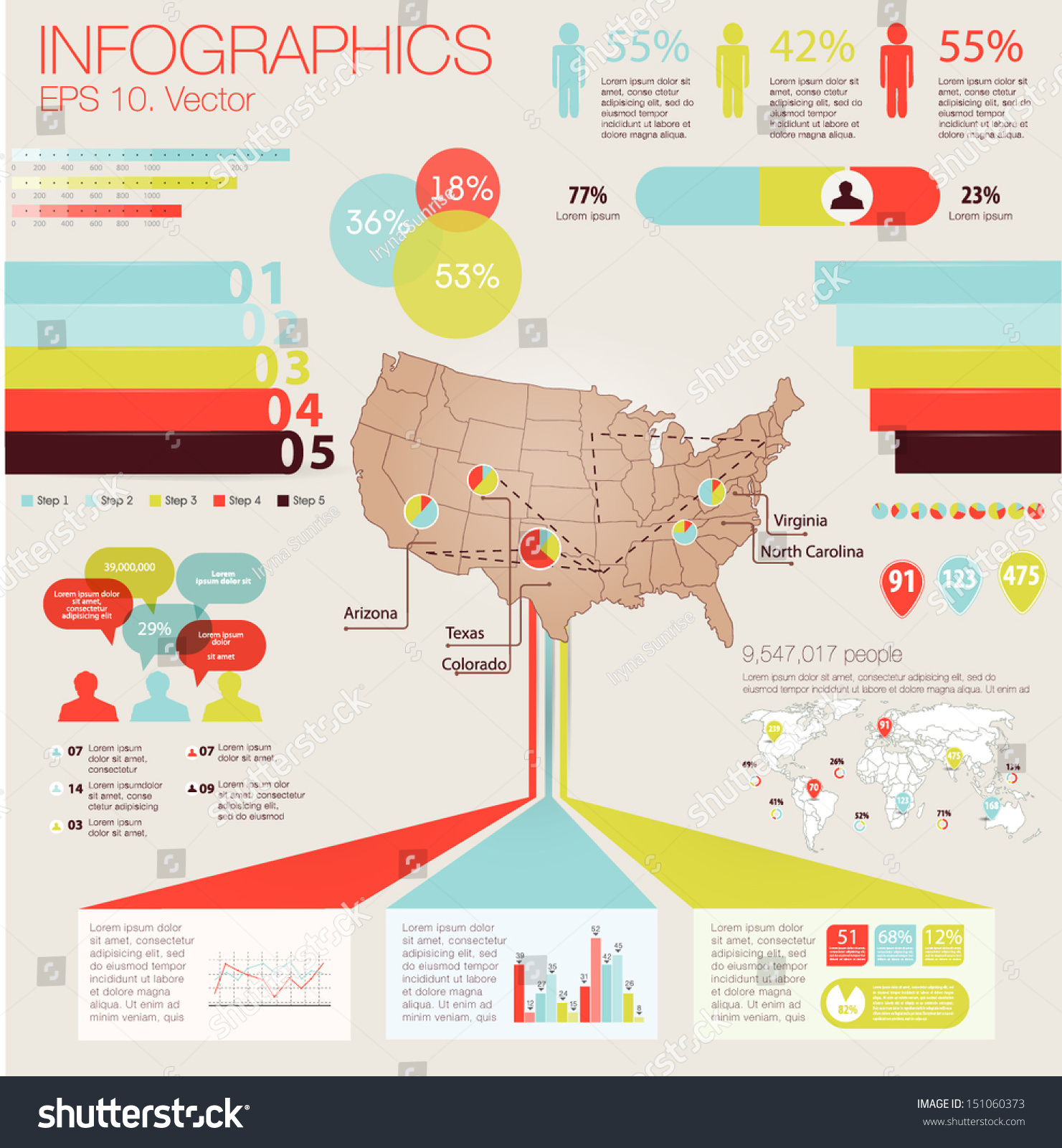 Detail modern infographic vector illustration map stock vector detail modern infographic vector illustration with map of united state of america information graphics gumiabroncs Images