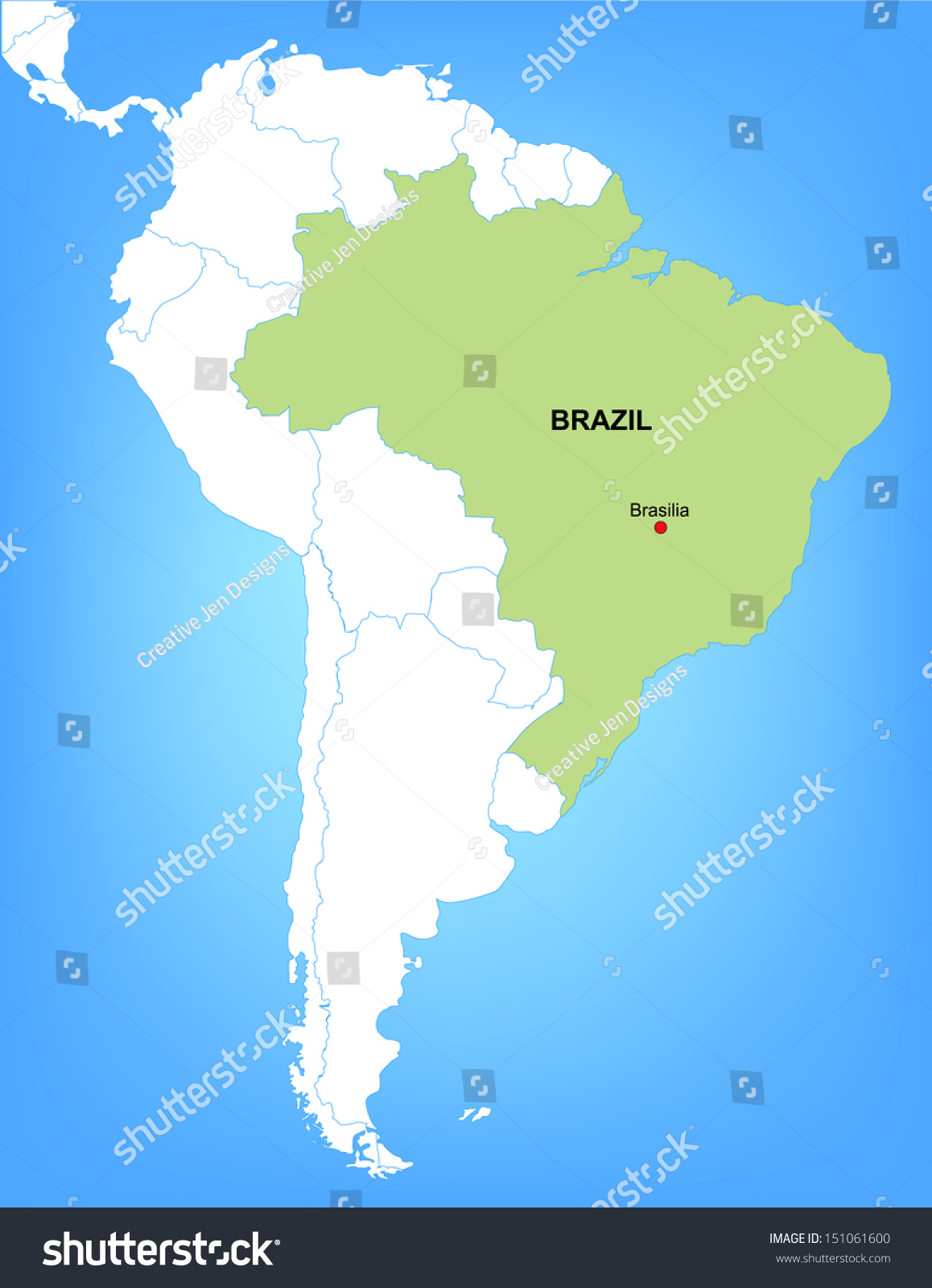 Vector Map South America Highlighting Country Stock Vector