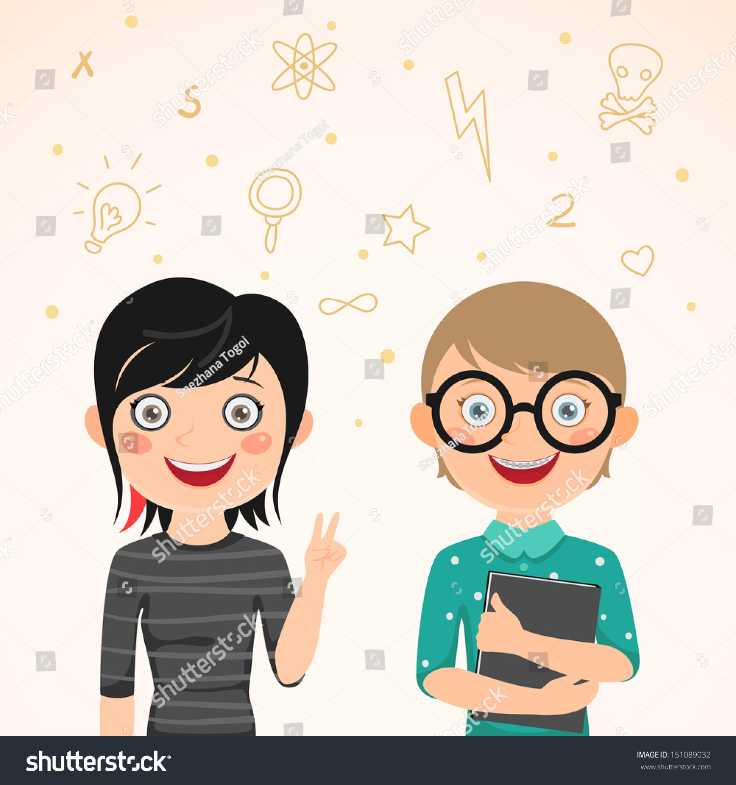 Clever School Girl: Rocker Girl Clever Boy Love Story Stock Vector 151089032