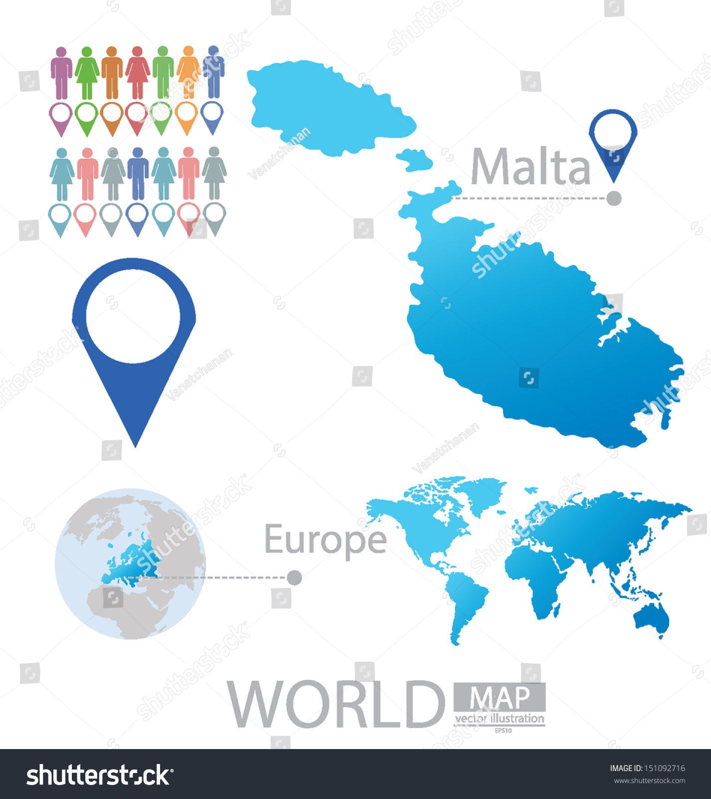 Malta On Map Of Europe.Republic Malta Map Europe Modern Globe Stock Vector Royalty Free