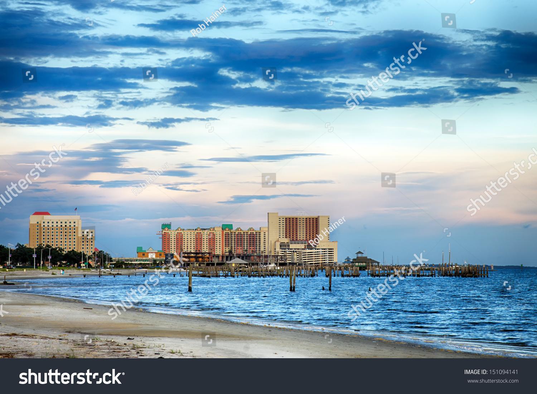 Biloxi Mississippi Casinos Buildings Along Gulf Stock Photo Edit