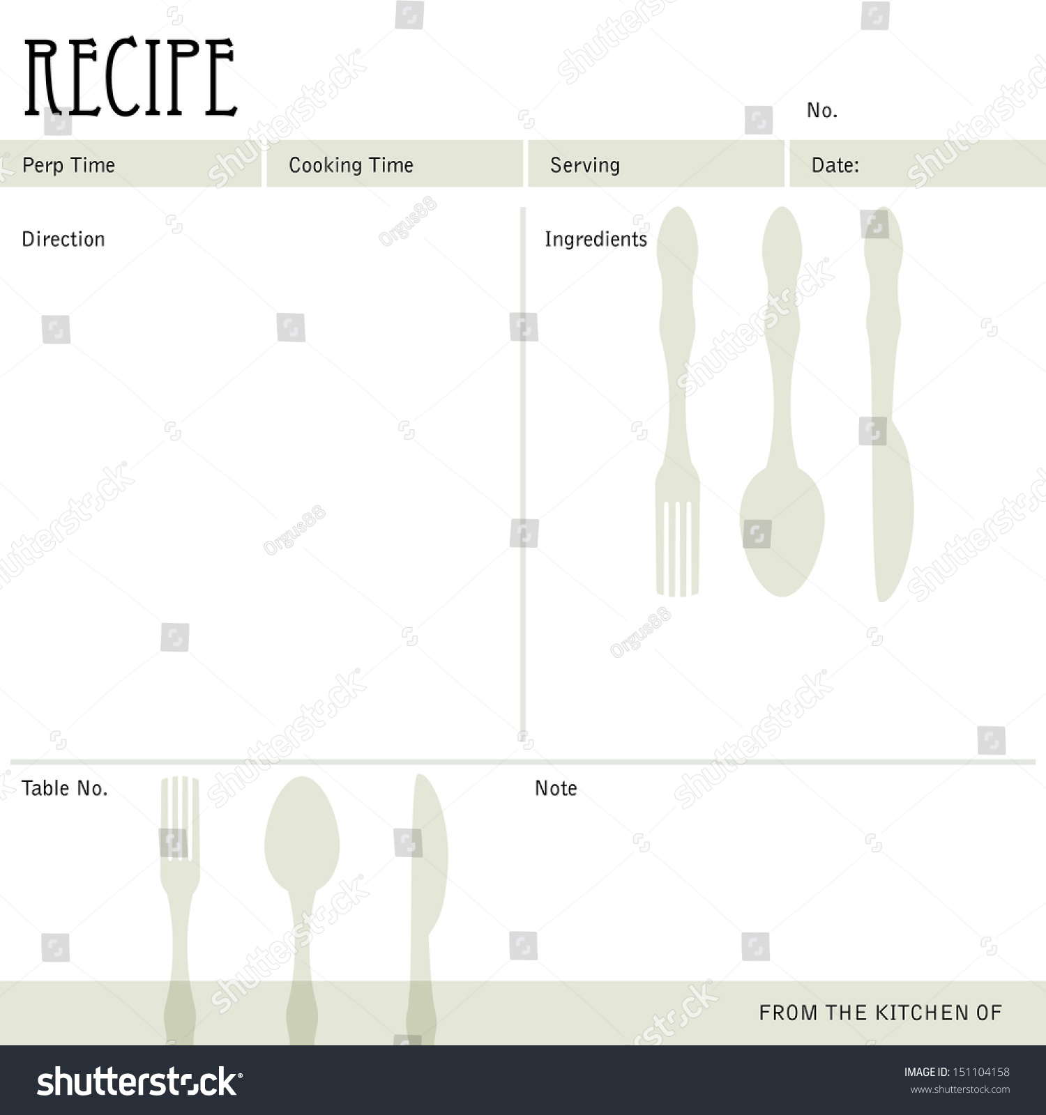 Restaurant Recipe Kitchen Note Template Menu Stock Vector ...