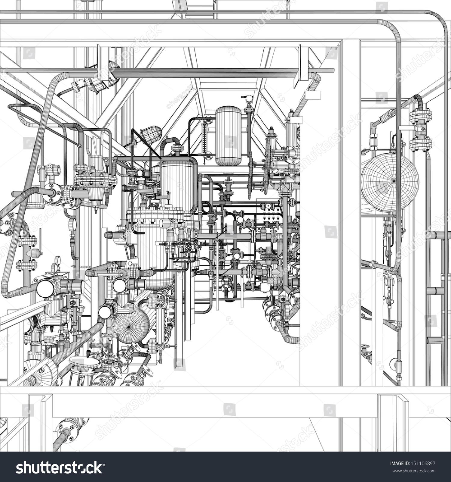 Wireframe Industrial Equipment EPS 10 Vector Stock Vector (2018 ...