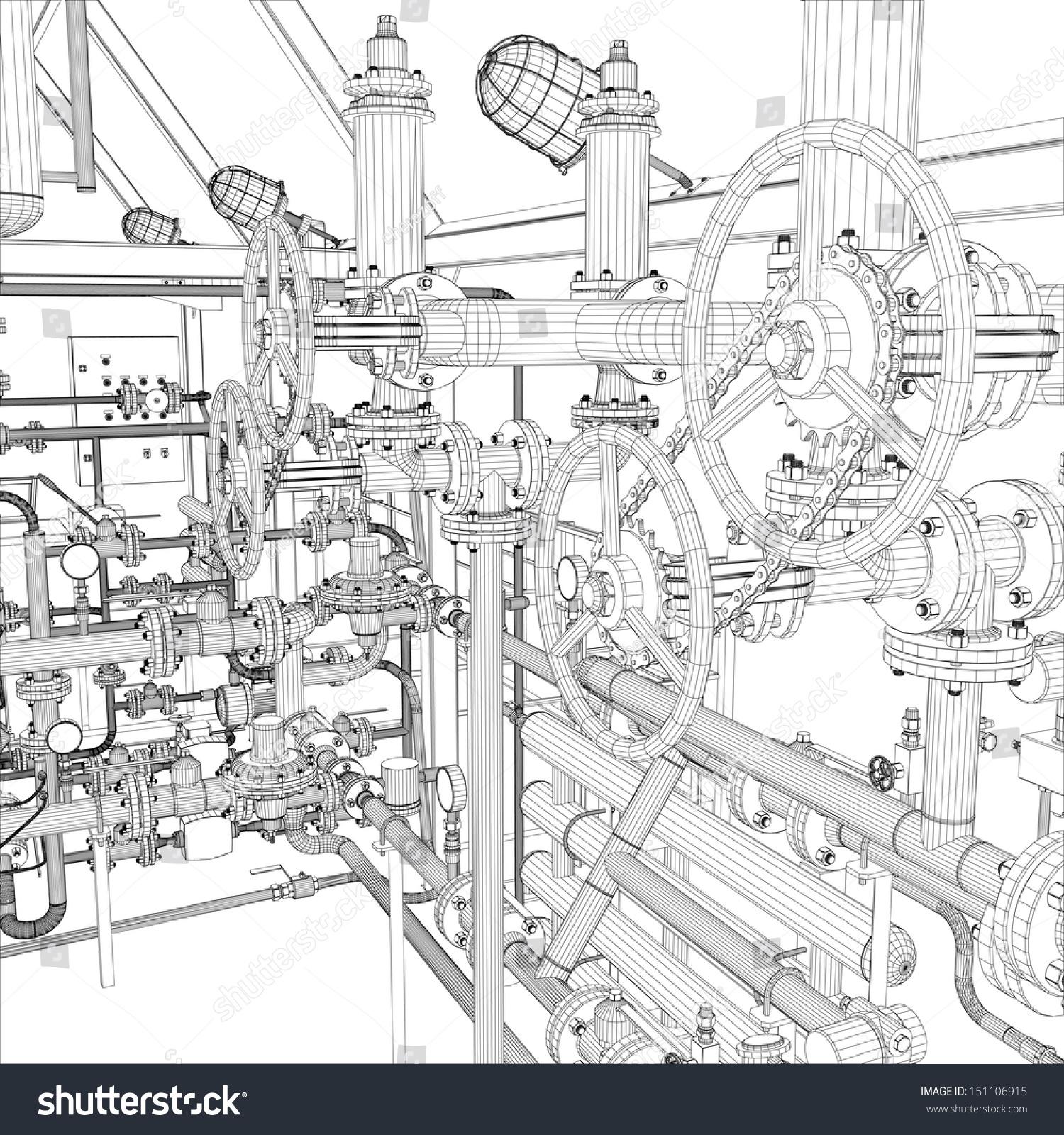 Wireframe Industrial Equipment EPS 10 Vector Stock Vector 151106915 ...