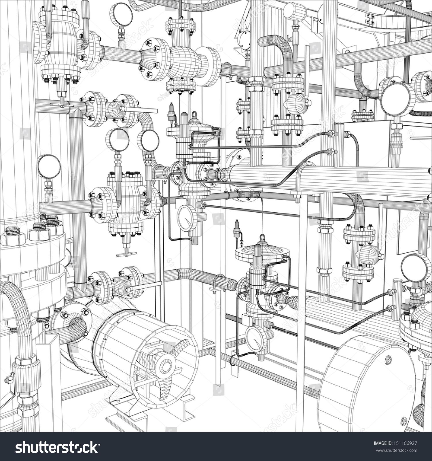 Wireframe Industrial Equipment EPS 10 Vector Stock Vector HD ...