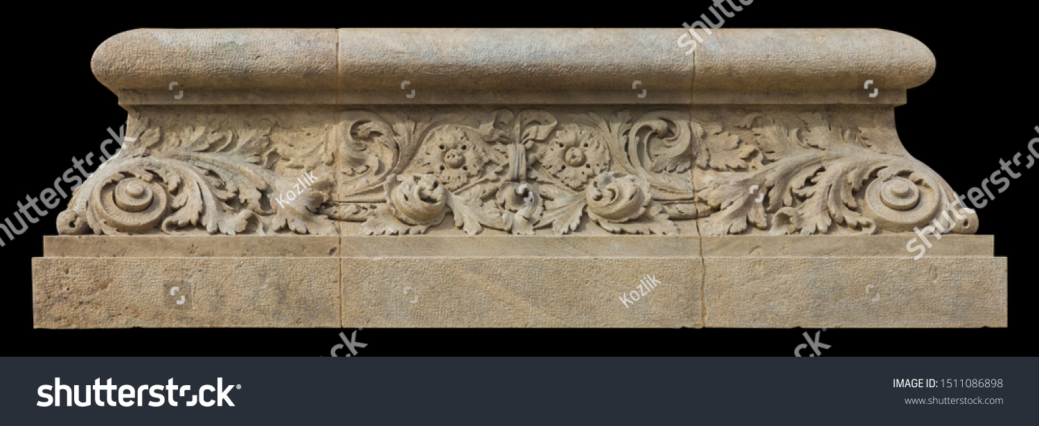 Elements of architectural decoration of buildings, stucco moldings, stucco wall texture, patterns and statues. On the streets in Catalonia, public places. #1511086898