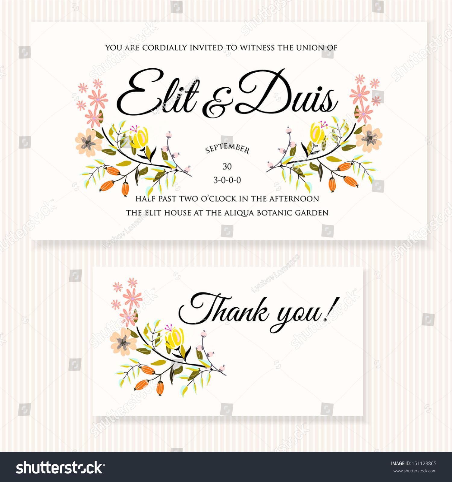 Wedding Invitation Thank You Card Save Stock Vector 151123865 ...