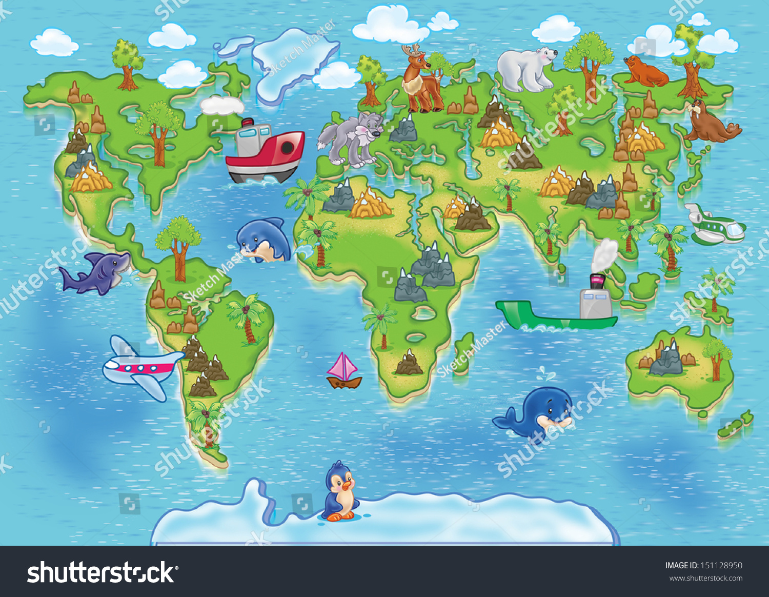 Funny Cartoon World Map All Continents Stock Photo 151128950