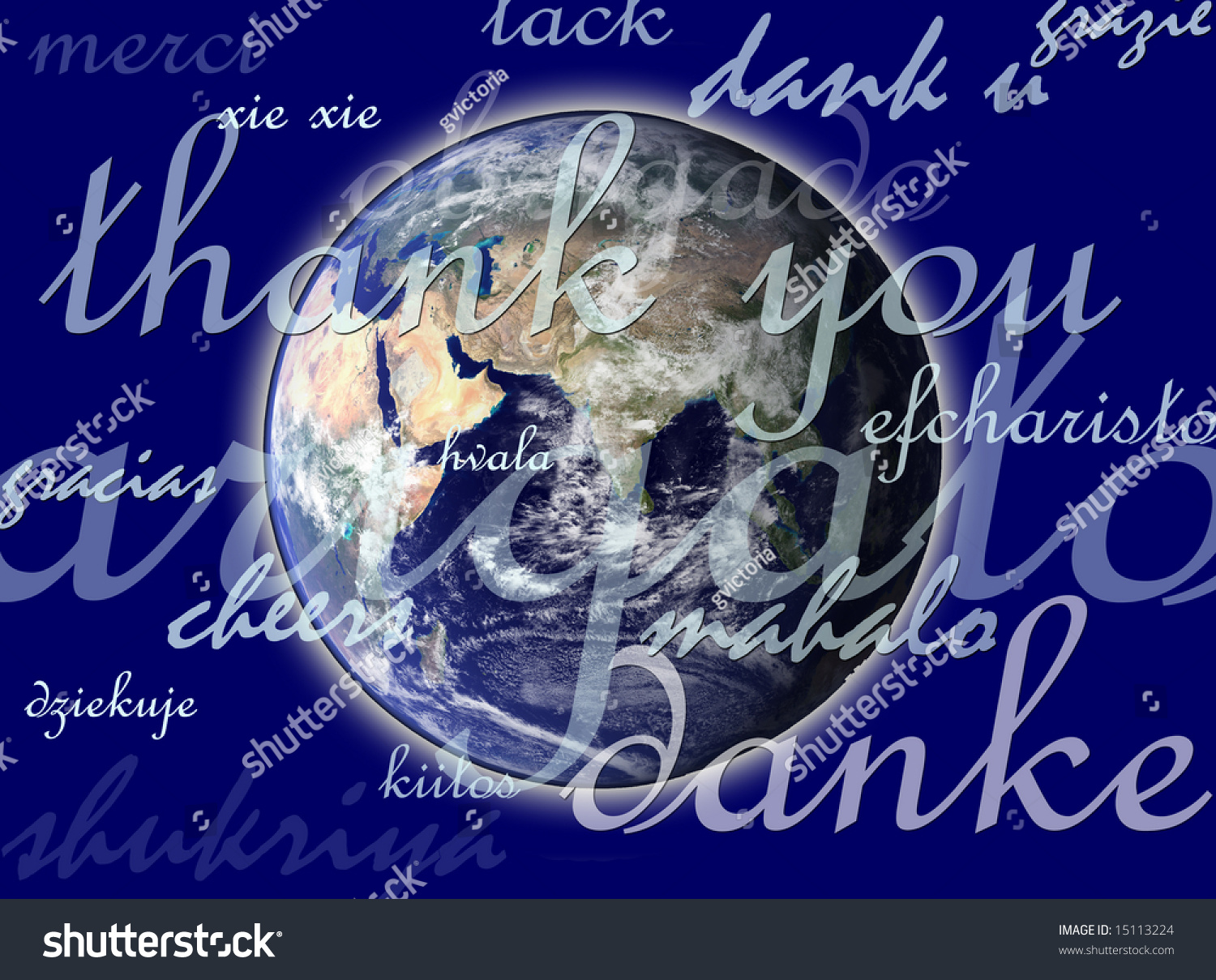 pla  earth with thank you in different languages stock
