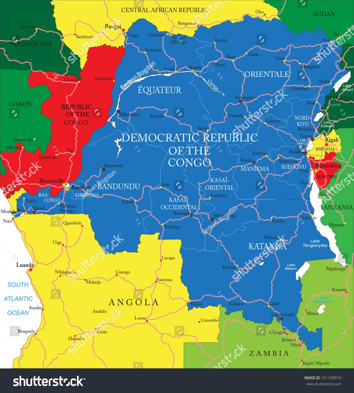 Democratic Republic Congo Mapformer Zaire Stock Vector - Democratic republic congo map