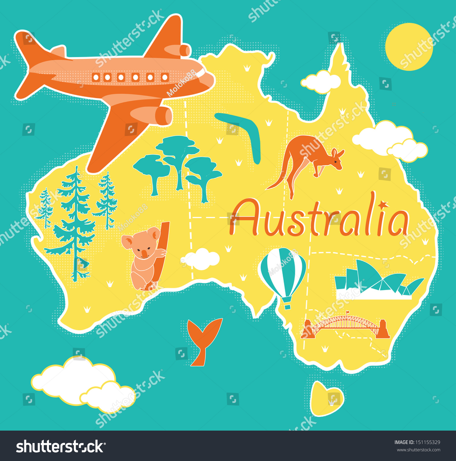 Cartoon Map Australia Vector 151155329 Shutterstock – Map of Australia Images