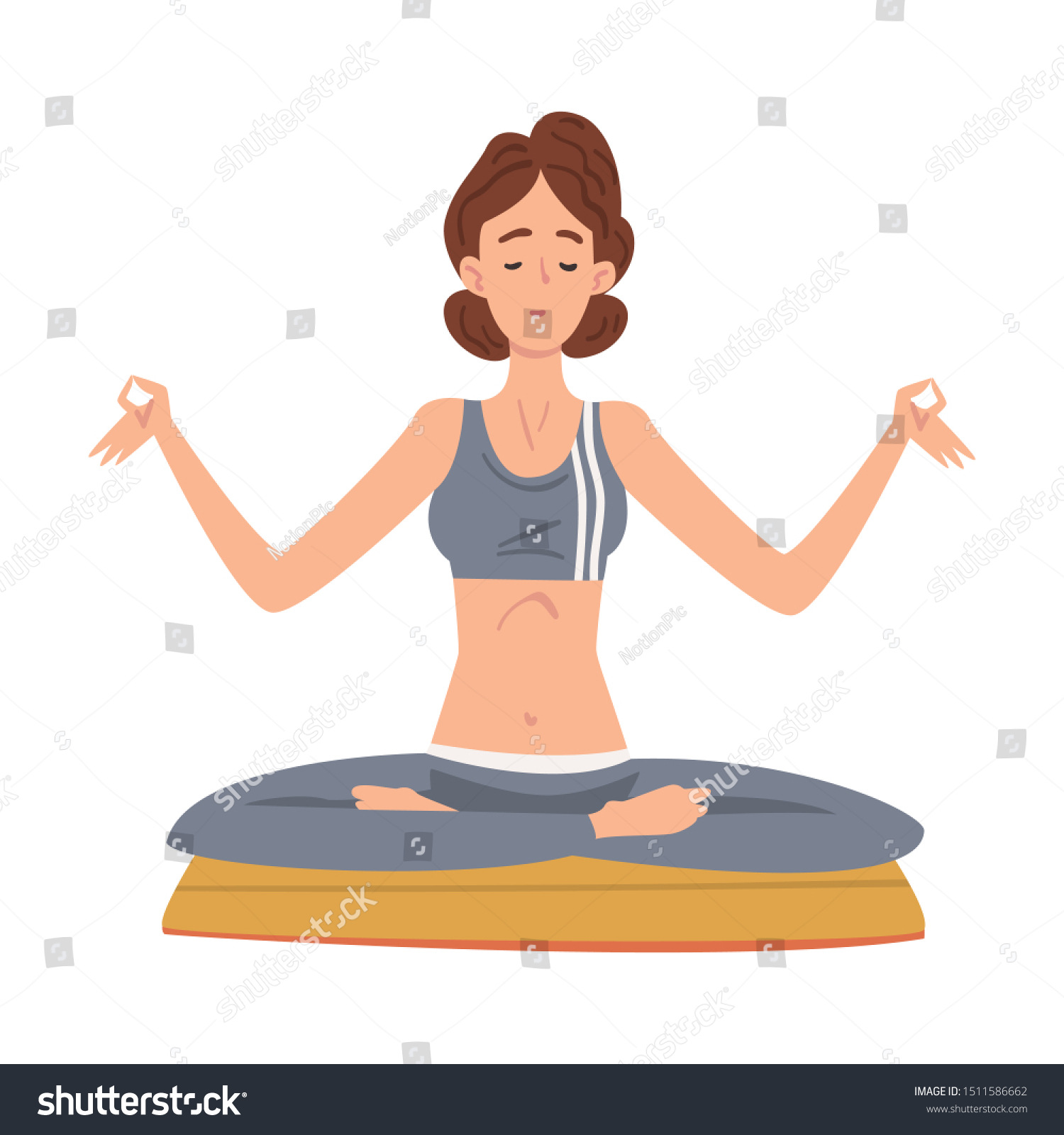 Girl Sitting Meditating Yoga Lotus Position Stock Vector Royalty Free 1511586662