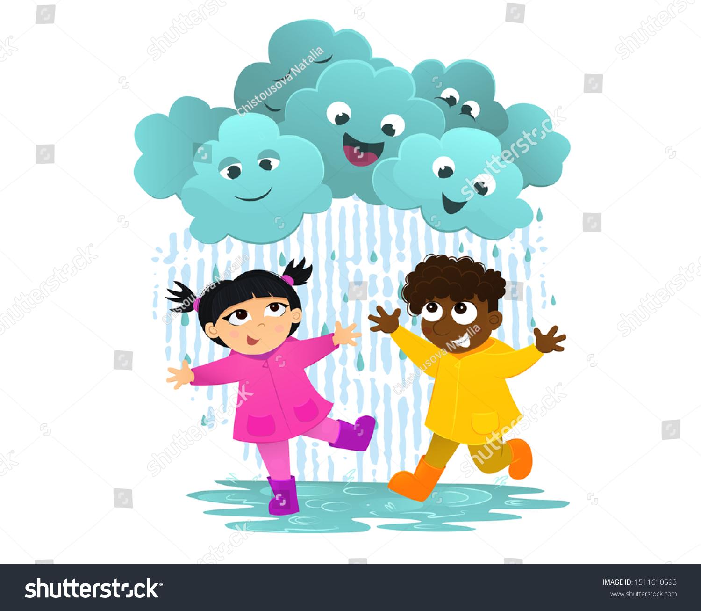 Premium Vector | Illustration of cute girl and friends with umbrella in  rainy season