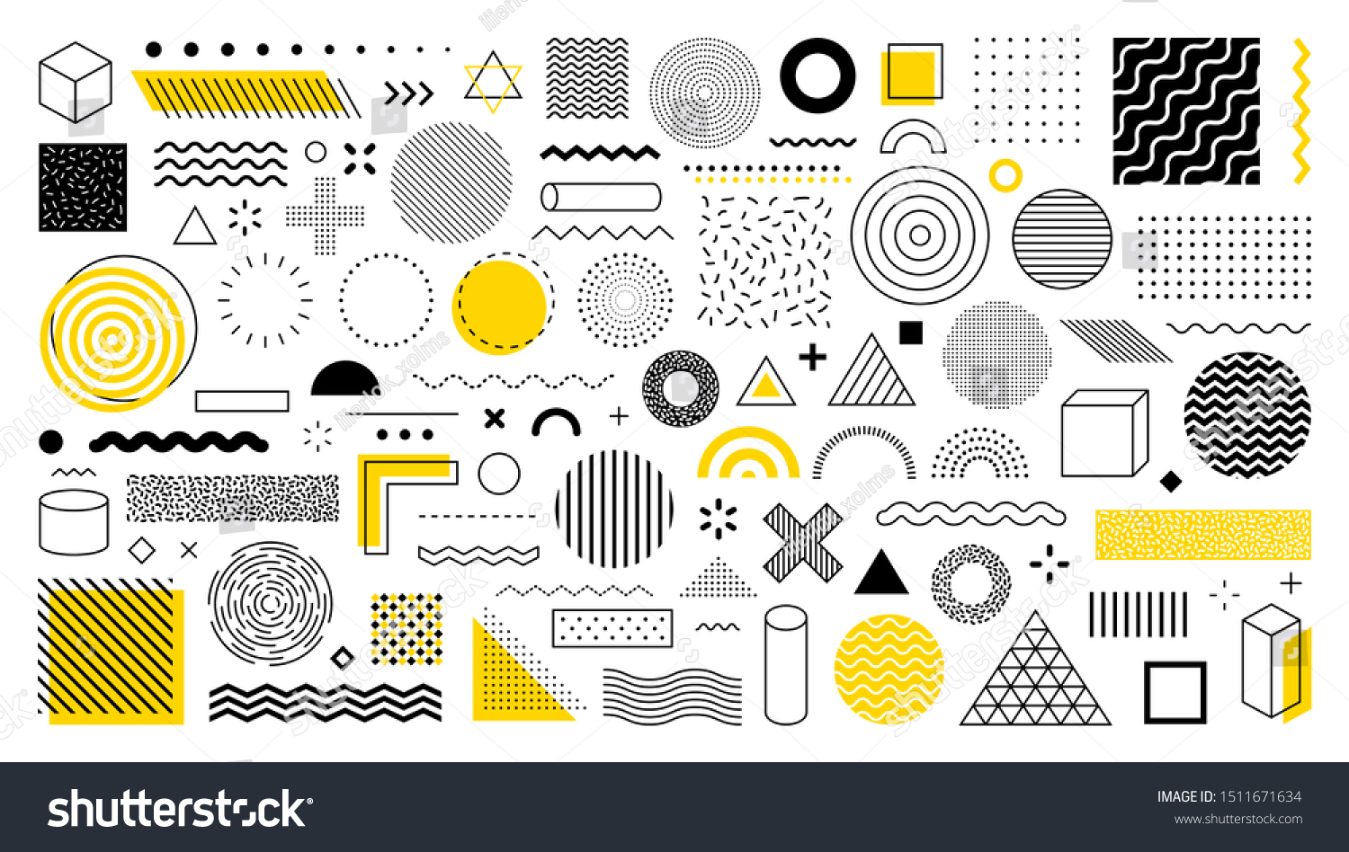 Set of 100 geometric shapes. Memphis design, retro elements for web, vintage, advertisement, commercial banner, poster, leaflet, billboard, sale. Collection trendy halftone vector geometric shapes. #1511671634