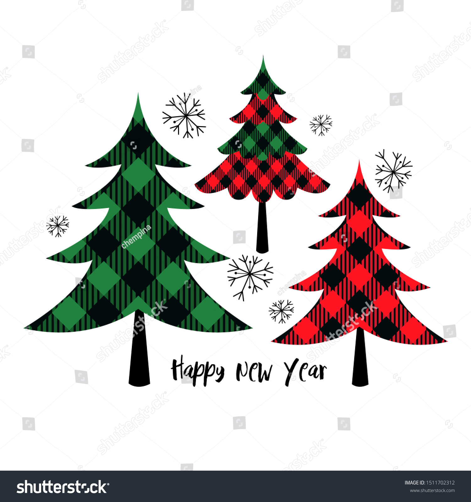 Buffalo Plaid Christmas Trees Vector Set Stock Vector Royalty Free 1511702312