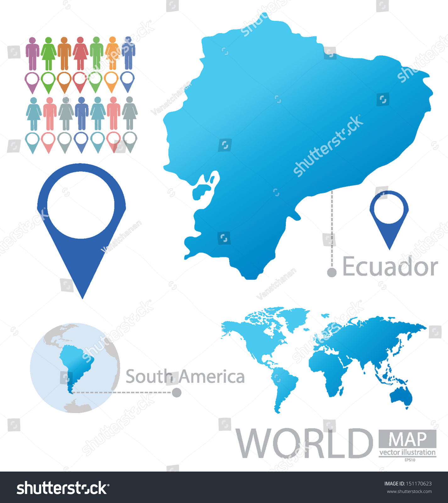 Ecuador South America World Map Vector Stock Vector 151170623