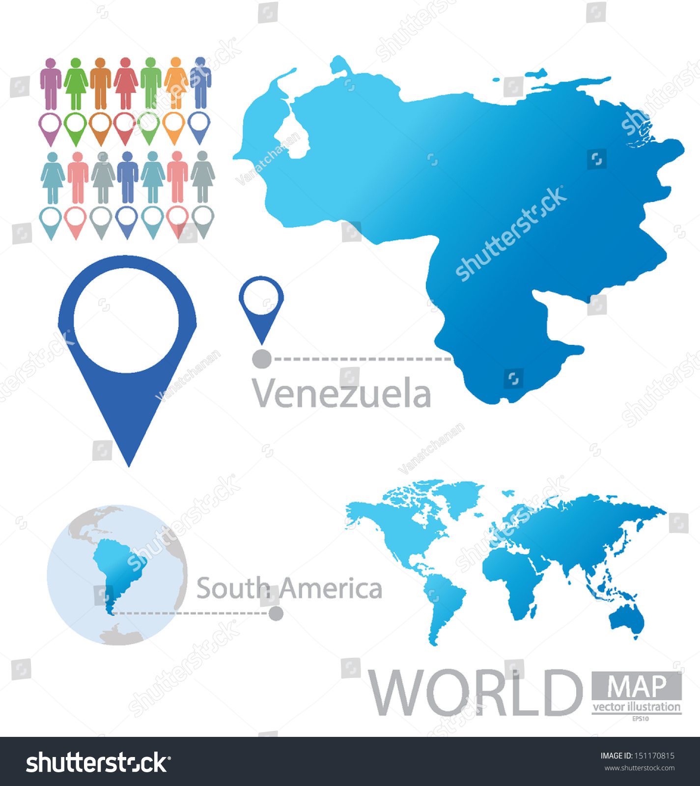 Venezuela South America World Map Vector Stock Vector - Map of venezuela south america