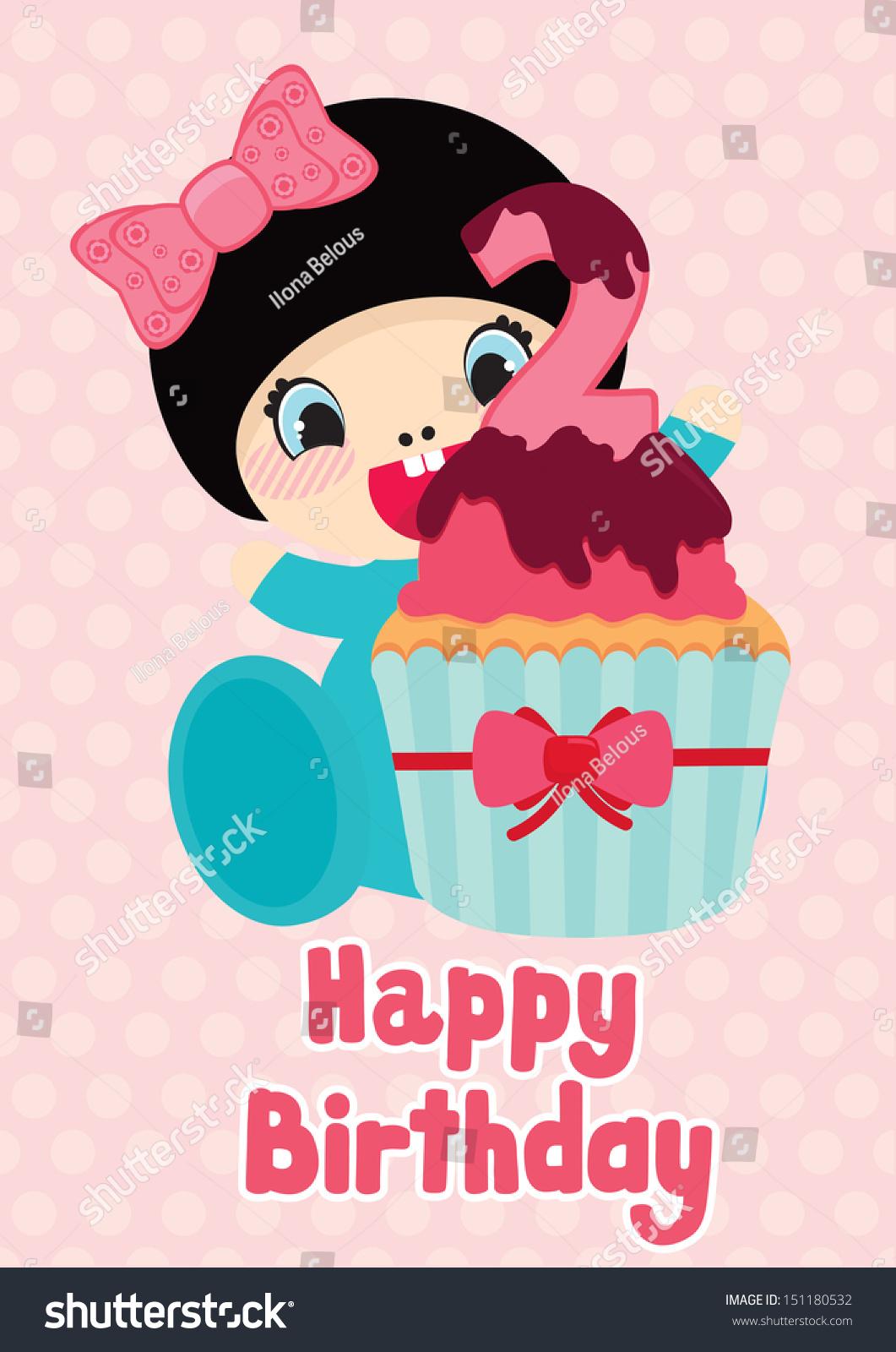 Happy Birthday Girl Illustration ~ Birthday postcard two year old cute stock vector shutterstock
