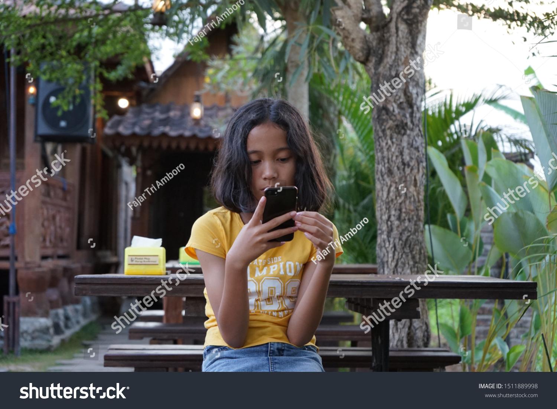 Beautiful Teen Girl Seating Alone Garden Stock Photo Edit Now